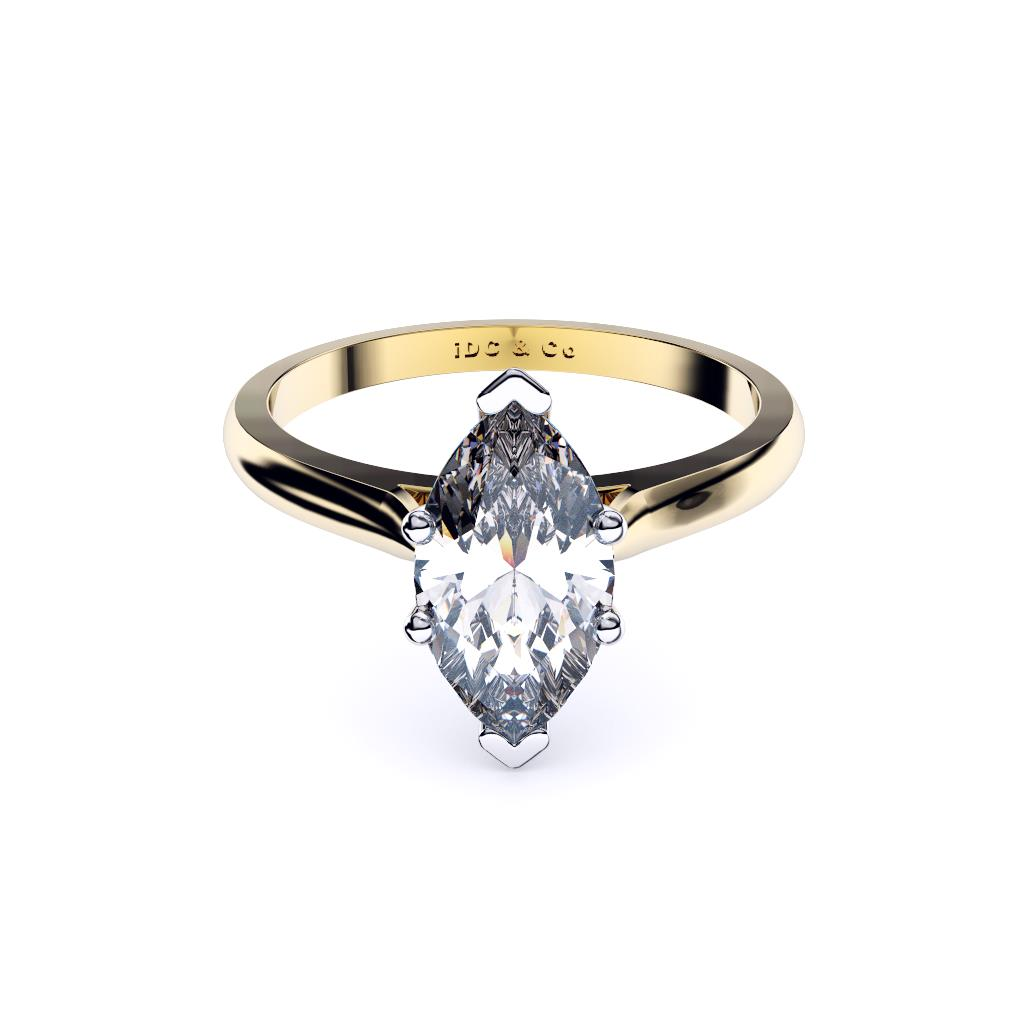 yellow gold classic marquise solitaire front