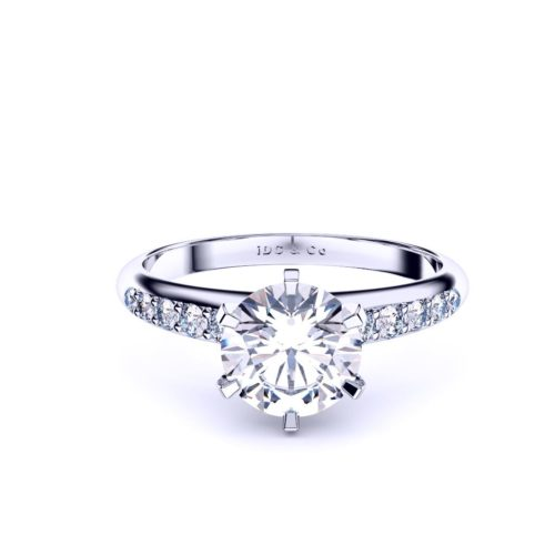 reverse taper pave diamond round engagement ring