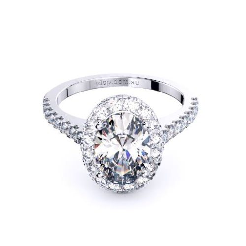 Oval diamond in halo with diamond set band engagement ring