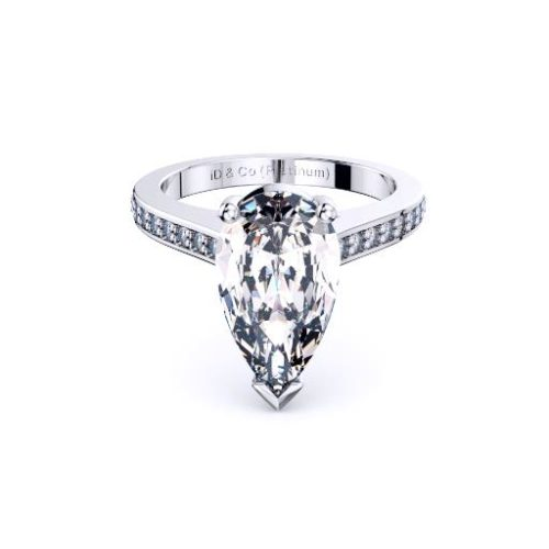 Classic Pear Solitaire Diamond Set Band Melbourne Diamond Company