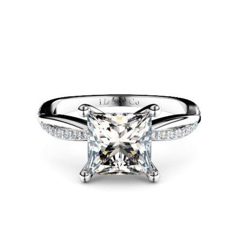 Princess cut diamond with twisted band round diamond shoulders melbourne diamond company