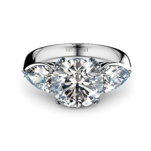 Round brilliant with pear shape diamonds three stone engagement ring
