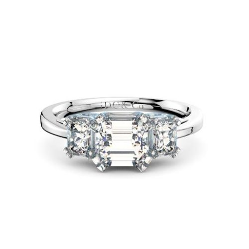 Three Stone Asscher diamonds engagement ring