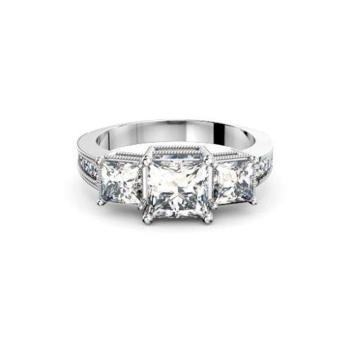 Three Stone princess diamonds antique engagement ring