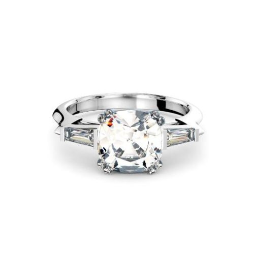 Cushion with tapered baguettes diamonds three stone engagement ring