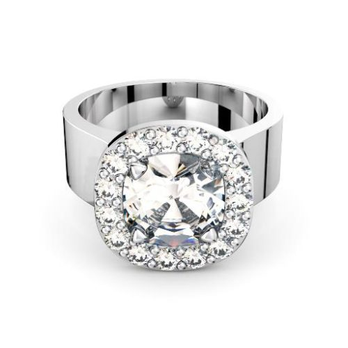 Cushion diamond in halo with wide band engagement ring