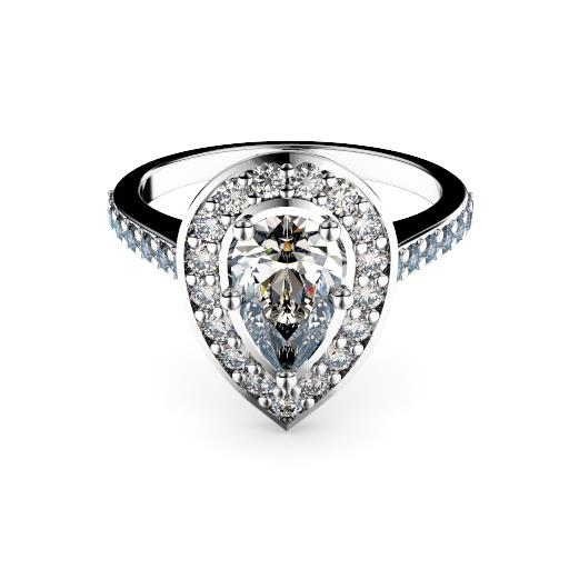 Pear diamond in halo with diamond set band engagement ring