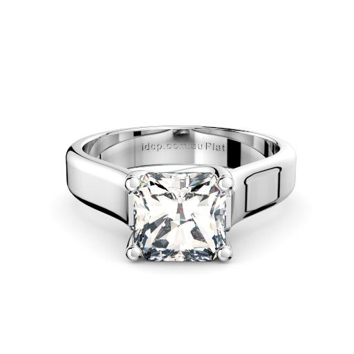 Radiant engagement ring wide band