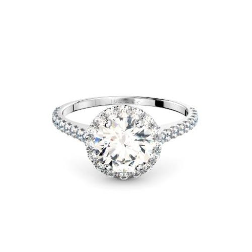 Round diamond in halo with diamond set band engagement ring