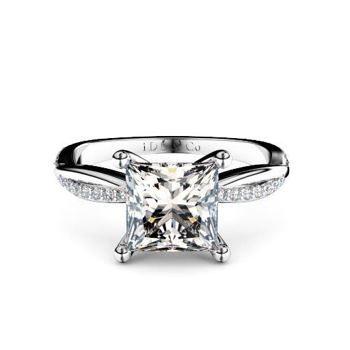 Princess cut diamond with twisted band round diamond shoulders melbourne diamond company